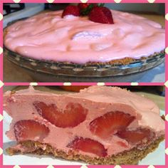Strawberry Pie = Graham cracker crust, 2 packages of Fresh Strawberries, washed and cut 1 8oz container of Cool Whip 2 cups ice cubes 2/3 boiling water 1 (3oz) package of Strawberry JELL-O