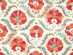 Papaver Fabric from the Grand Vizier collection by No 9 Thompson. A stylised poppy design in red and oranges with accents of beige, printed on an off white linen. Print Wallpaper, Fabric Wallpaper, Jim Thompson Fabric, Orange Poppy, Formal Living Rooms, Soft Furnishings, Decoration, Damask, Fabric Design