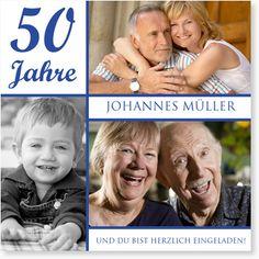 Geburtstagseinladung - Erinnerungsfotos in Blau