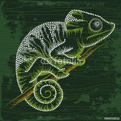 Vecteur : Dotted Chameleon sitting on the branch by Bokosana on Fotolia