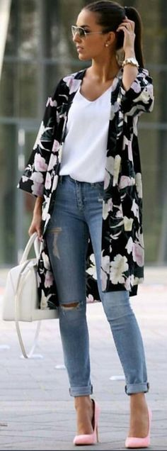 #spring #summer #highstreet #outfitideas   Floral + White + Denim + Pop Of Pink