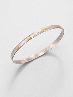 GURHAN - Edifice 24K Yellow Gold & Sterling Silver Midnight Dot Bangle Bracelet