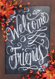 Welcome Friends Chalkboard Fall Chalkboard by CrookedTreeCreation