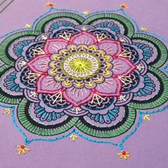 Purple Mandala Notebook. Embroidered A5 by FabulousCatPapers