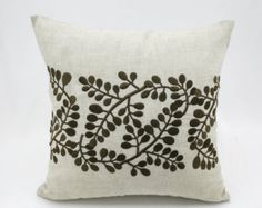 Decorative pillow cover made from Cream linen and embroidered with fresh green pussy willows. This pillow cover has hidden zipper and it is available