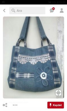 Risultati immagini per Sew tote bag from recycled denim and upholstery Sacs Tote Bags, Denim Tote Bags, Denim Purse, Tote Purse, Patchwork Bags, Quilted Bag, Denim Patchwork, Bag Quilt, Blue Jean Purses