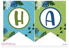 Free Dinosaur Party Printables   Banner | CatchMyparty.com Happy Birthday Banner Printable, Printable Birthday Banner, Printable Banner Letters, Diy Birthday Banner, Happy Birthday Banners, Dinosaur Party Invitations, Dinosaur Party Decorations, Dinasour Birthday, Dinosaur Birthday Party