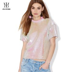 womens tops fashion 2017 pink tops loose summer tops Sequin t-shirt women casual Party sequins stage outfit Sequins tee tunic Crop Top Styles, Blusas Crop Top, Crop Top Shirts, Tee Shirts, Crop Tops, Top Chic, Plus Size Womens Clothing, Clothes For Women, Cheap Clothes