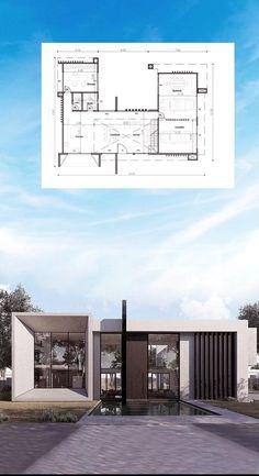 Small House Layout, House Layout Plans, Small House Design, Small House Plans, House Layouts, Modern Exterior House Designs, Modern Architecture House, Concept Architecture, Modern House Design