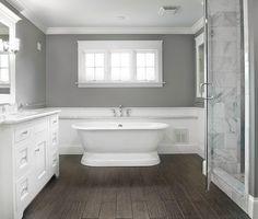 Gray bathroom color ideas sherwin williams bathroom colors gray small bathroom paint color ideas for bathroom color schemes gray bathroom colors pictures Wood Bathroom, Grey Bathrooms, Bathroom Flooring, Bathroom Interior, Master Bathroom, Bathroom Remodeling, Dark Floor Bathroom, Floor Mirror, Bathroom Cabinets