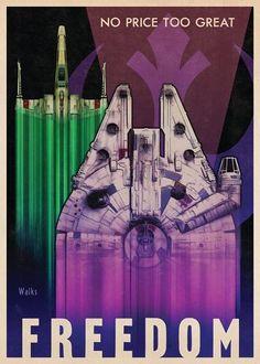 Russel Walk réinterprète l'univers Star Wars dans le syle de posters de propagande des années 40.
