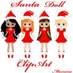 Cute Santa Dolls  Girls Clip Art for scrapbooking card by manuna, $3.50
