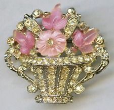 1940's CORO Art Deco Pink Fruit Salad Rhinestone Flower Floral Basket Brooch Pin