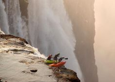 """Devils Pool Victoria Falls, Zambia - The Most Dangerous Pool In The World! """"Devil's Pool"""": the world's highest and most dangerous infinity pool. The world's highest and most daring infinity pool in the world is located on the edge of Victoria Falls. Wyoming, National Geographic, Luis Adriano, Base Jump, Chutes Victoria, Les Cascades, Living On The Edge, Victoria Falls, Life Lessons"""