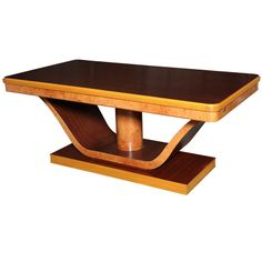 Italian Deco Burl & Mahogany Dining Table | From a unique collection of antique and modern dining room tables at http://www.1stdibs.com/furniture/tables/dining-room-tables/