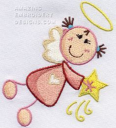 "This free embroidery design is a ""Christmas Angel""."