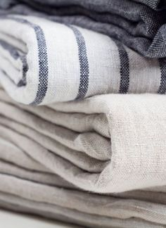 cloth linen fabrics neutrals stripes blue white beige navy grey neutral farmhouse country home Linen Fabric, Linen Bedding, Bedding Sets, Bed Linens, Bed Linen Design, Textiles, Bedding Basics, Linens And Lace, Deco Design