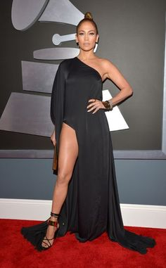 What dress code? Jennifer Lopez gives a whole lotta leg in Anthony Vaccarello
