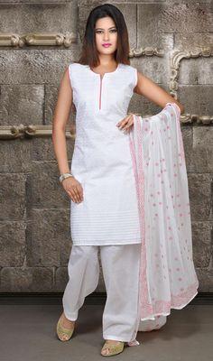 Off White Cotton Salwar Kameez Price: Usa $81, British UK Pound £47, Euro60, Canada CA$ 86, Indian Rs4374.