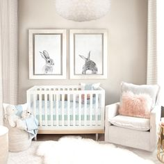 I love this designers view that the nursery is for baby and mama, since moms spend so much time in there too! These soft colors and textures are perfect! And the bunny prints are adorable. Who doesn't love a cotton tail? My Nursery – Oilo Baby Boy Nurseries, Baby Cribs, Baby Rooms, Nursery Design, Nursery Decor, Nursery Ideas, Nursery Furniture, Nursery Inspiration, Baby Decor