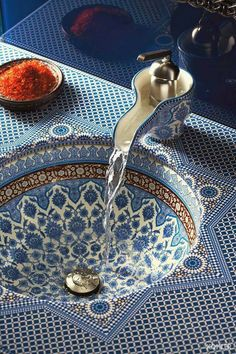 14 Home Trends For 2014 Marrakesh sink is absolutely awesome! 14 Home Trends For 2014 Marrakesh sink Moroccan Bathroom, Moroccan Decor, Moroccan Style, Moroccan Design, Turkish Style, Moroccan Interiors, Moroccan Blue, Turkish Decor, Persian Decor
