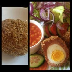 This recipe for scotch eggs are syn free if using the weetabix as your HEB choice. These taste fab and are really tasty and crunchy Healthy Eating Recipes, Low Calorie Recipes, Cooking Recipes, Healthy Meals, Healthy Food, Snack Recipes, Snacks, Slimming World Recipes Syn Free, Slimming World Diet