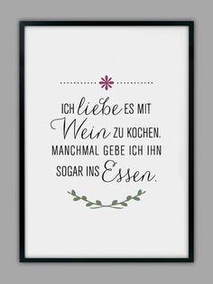 """""""MIT WEIN KOCHEN"""" Kunstdruck, Küchen Poster // kitchen poster, typography """"cooking, wine"""" by Smart-Art Kunstdrucke via DaWanda.com"""