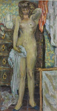 PIERRE BONNARD 1867 - 1947 LA FEMME À LA COMMODE Signed Bonnard (lower RIGHT) Oil on canvas 43 3/8 by 23 in. 110 by 58.5 cm Painted in 1909. Estimate 3,000,000 — 5,000,000 USD