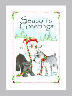 Two Christmas Schnauzers by Judzart on Etsy, $16.60