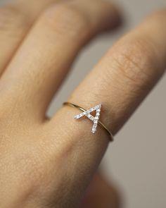 Side Diamond Letter Ring - US7 / White Gold