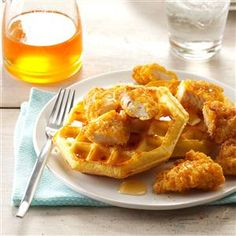 Chicken & Waffles Recipe -My first experience with chicken and waffles sent my taste buds into orbit. I first made the dish into appetizers, but we all love them as a main course, too. —Lisa Renshaw, Kansas City, Missouri