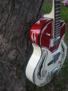 Pin Striped guitar for the Art Guitar Auction at the Wildflower Festival.