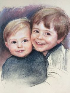 Pastel of two brothers Two Brothers, Pastel, Portraits, Children, Face, Artist, Beautiful, Young Children, Cake