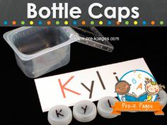 Educational ideas for using bottle caps in the preschool, pre-k, or kindergarten classroom. Have a bin in the cafeteria for kindergarten Preschool Names, Preschool Literacy, Classroom Activities, Preschool Activities, Alphabet Activities, Kindergarten Readiness, Kindergarten Centers, Kindergarten Classroom, Literacy Centers