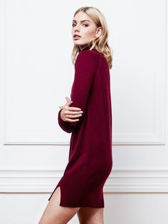 Women's Cashmere Dress in Burgundy / Soft Goat AW16
