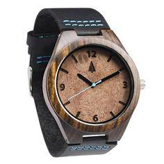 Black Leather Ebony Wooden Watch