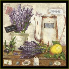 Lavander De Provence Four Tissue Paper Decoupage Napkins -  Use For Crafts, Mixed Media, Scrapbooking, Collage And Altered Art Projects