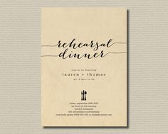 """Printable Wedding Rehearsal Dinner Invitation - Rustic Background with black  (RD20). $18.00, via Etsy. /// could possibly change the text to read """"bridal shower"""""""