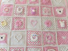 Whimsical Crochet Baby Blanket / Pink Baby Afghan by brendacurrie