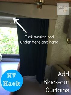 RV Hack -add black out curtains using a tension rod and inexpensive curtain panels ::OrganizingMadeFun.com