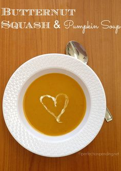 Butternut Squash & Pumpkin Soup. Perfect soup recipe for winter and fall!