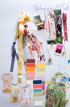 Moodboard Ephemeral Folk. The project explores the vast and rich folk traditions in the UK and beyond, combining natural dyes and digital printing to create a truly unique collection of textiles designed and printed by Holly Picthall