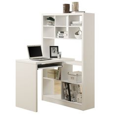 Monarch Specialties White Hollow-Core Left Or Right Facing Corner Desk