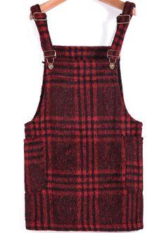 Red Strap Plaid Pockets Woolen Dress - Sheinside.com