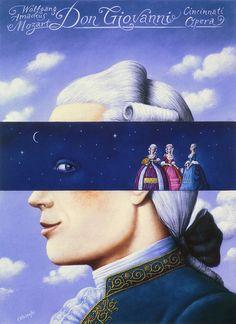 Rafal Olbinski, Don Giovanni - Wolfgang Amadeus Mozart - poster by  for the Cincinnati Opera
