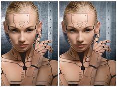 How to Create a Human Cyborg Photo Manipulation in Adobe Photoshop Zombie Halloween Makeup, Scary Halloween Costumes, Horror Makeup, Scary Makeup, Robot Makeup, Makeup Art, Human Cyborg, Futuristic Makeup, Zombie Makeup Tutorials