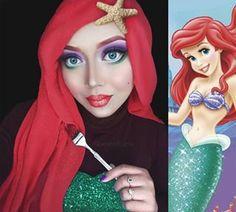 Malaysian makeup artist Saraswati uses her hijab and makeup to turn herself into actual Disney princesses. | Ariel