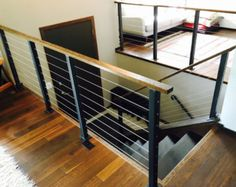 Surface mount cable railing posts and components. Surface mount cable railing posts and components. Cable Stair Railing, Staircase Railings, Deck Railings, Banisters, Staircases, Indoor Railing, Banister Ideas, Black Stair Railing, Loft Railing