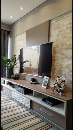 Painel com textura Bedroom Tv Unit Design, Living Room Tv Unit Designs, Hall Interior, Home Interior Design, Interior Modern, Home Living Room, Living Room Decor, Modern Tv Wall Units, Muebles Living