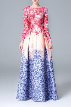 ZIYI Floral Print Waisted Corset Maxi Dress